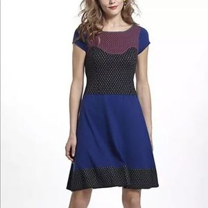 Sparrow Intarsia Colorblock Dotted Sweater Dress M
